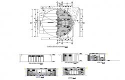 Public hygiene service elevation, section and plan cad drawing details dwg file
