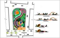 Public park elevation and landscaping details dwg file