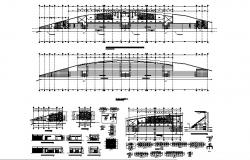 Public sanitary services elevation, section, plan, construction and installation details dwg file