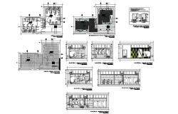 Public sanitary services section, plan, cover plan and installation details dwg file