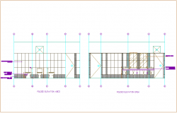 Public toilet folded elevation with A to D arrangement of WC dwg file