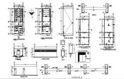 Public toilets section, plan and sanitary installation details dwg file