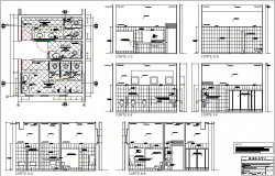 Public wash room elevation and section detail dwg file