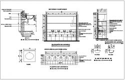 Public washroom sink and toilet cupboard detail dwg file