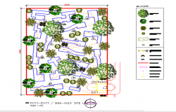 Putt-Putt Mini-Golf site layout Design in DWG file