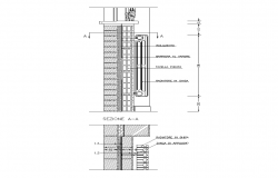 Radiator detail elevation and section 2d view layout dwg file