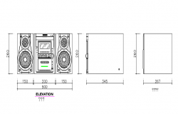 Radio front elevation dwg file