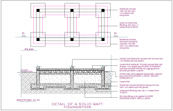 Raft foundation detail dwg file