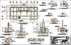 Raft foundation plan and section detail dwg file
