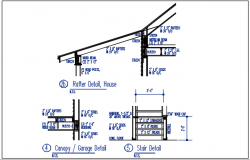 Rafter detail, house and stair detail, garage detail dwg file