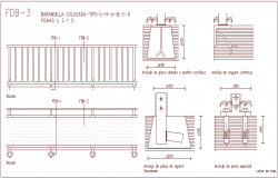 Railing type detail view with structural view dwg file