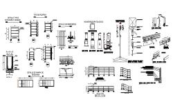Ramp walk and garden furniture cad drawing details dwg file