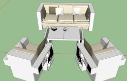 Reading sofa 3d view skp file