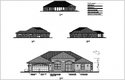 Rear,left,right and front view of house dwg file
