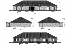 Rear,left right and front view of house dwg file