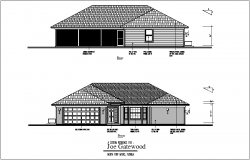 Rear and front view of bungalows dwg file