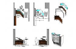 Reception area, handicapped entry access and furniture details of office dwg file