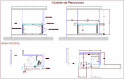 Reception table furniture view for admin area dwg file