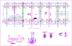Reconstruction of classroom foundation view with construction detail dwg file