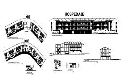 Recreation center hospital elevation, section and floor plan details dwg file