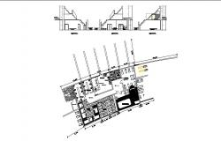 Recreation center office building section and distribution plan details dwg file