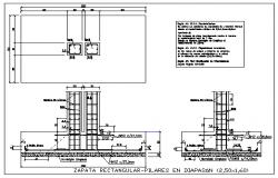 Rectangular footing pillars in diapason