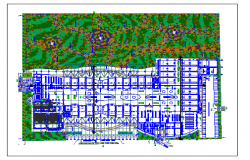 Region mall ground floor landscaping with structure details dwg file