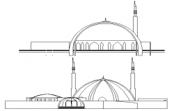 Regional mosque main elevation and side elevation dwg file