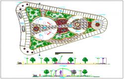 Regional public park elevation and landscaping details dwg file