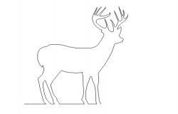 Rein deer elevation detail dwg file