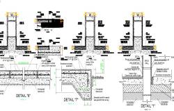 Reinforced concrete column and construction details of school building dwg file