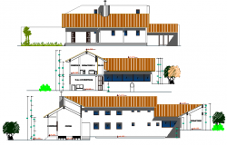 Religious Housing Elevation and Section Details dwg file
