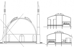 Religious city mosque full elevation details dwg file