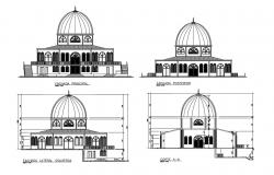 Religious mosque facade and back elevation and section details dwg file