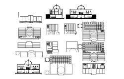 Religious two-level mosque detailed architecture project dwg file