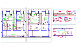 Remodeling of office, section view & Enclosure partition view dwg file