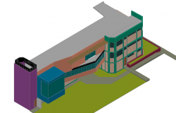 Remodeling view of office in 3d view dwg file