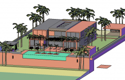 Residence 3 d plan detail dwg file