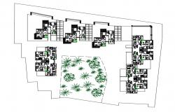 Residence Apartment Plot Layout Plan With Landscaping Design DWG File