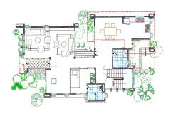 Residence Bungalow Ground Floor Plan AutoCAD File