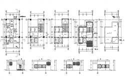 Residence House Design Plan and Elevation CAD Drawing