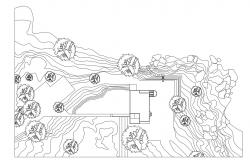 Residence Plot Area Landscape Contour Plan 2d CAD Drawing