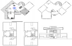 Residence house project dwg file