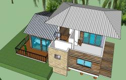 Residence house with elevations detail in dwg file