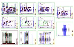 Residence municipal building plan and elevation view dwg file