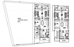 Residence plan with furniture detail in autocad