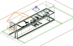 Residence two levels 3 d plan detail dwg file