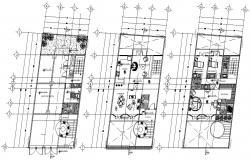 Residential 3 BHK Bungalow Furniture Layout Plan