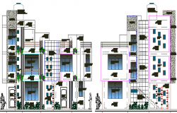 Residential Building Design and Elevation dwg file