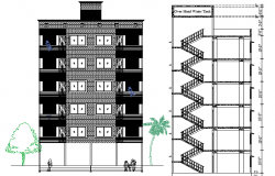 Residential Building Floor Plan Details dwg file